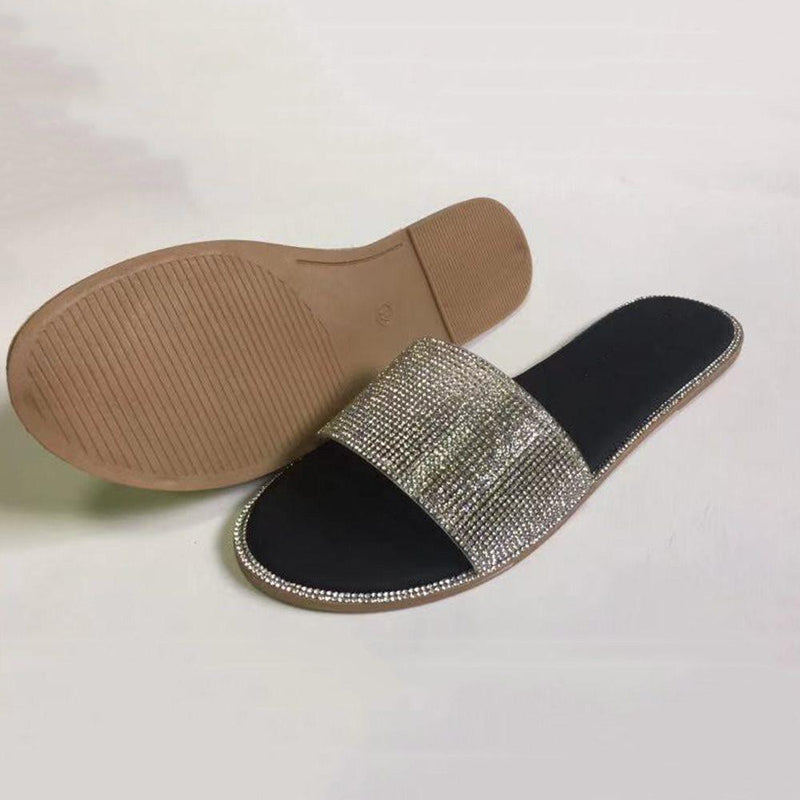 Flat With Sequin Slip-On Flip Flop PVC Casual Slippers