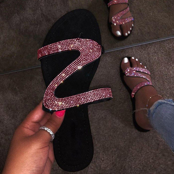 Flat With Slip-On Rhinestone Flip Flop Rubber Slippers