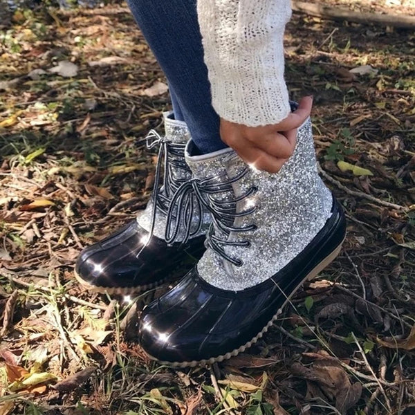 Patchwork Lace-Up Front Block Heel Round Toe Cross Strap Casual Boots