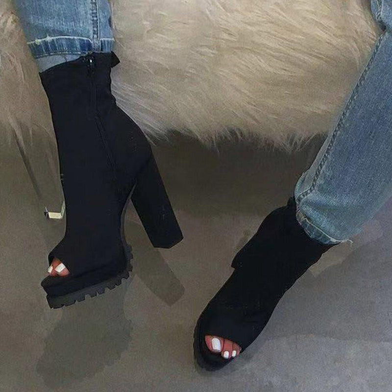 Side Zipper Peep Toe Casual Casual Boots