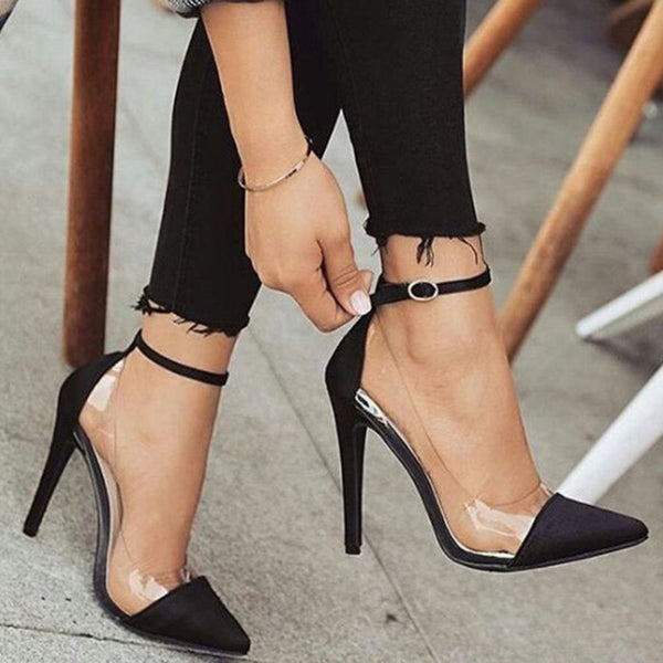 Stiletto Heel Line-Style Buckle Pointed Toe Ultra-High Heel(≥8cm) Plain Thin Shoes