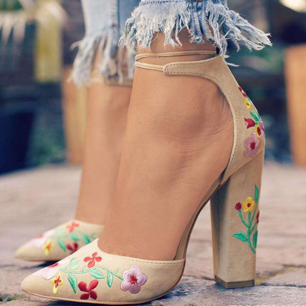 Pointed Toe Embroidery Slip-On Chunky Heel Floral Ultra-High Heel(≥8cm) Thin Shoes