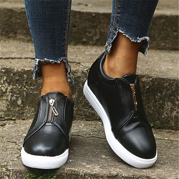 Round Toe Zipper Zipper Plain PU Sneakers