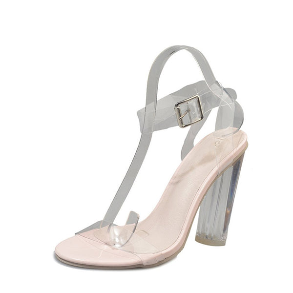 Line-Style Buckle Ankle Strap Chunky Heel Open Toe See-Through Sandals