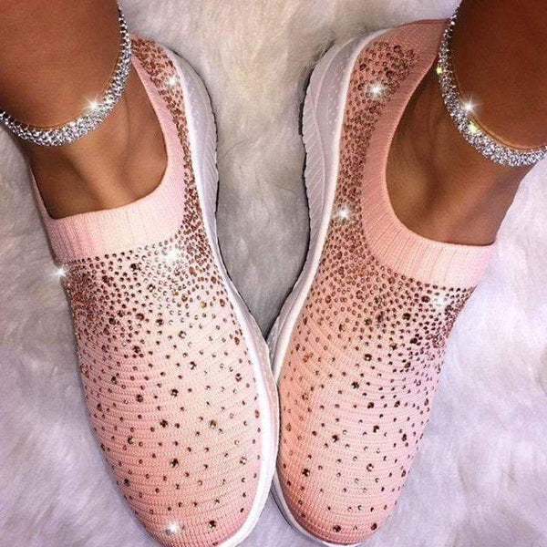 Round Toe Rhinestone Low-Cut Upper Slip-On Wedge Heel Plain Sneakers