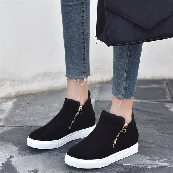 Platform Round Toe Zipper Suede Plain Sneakers