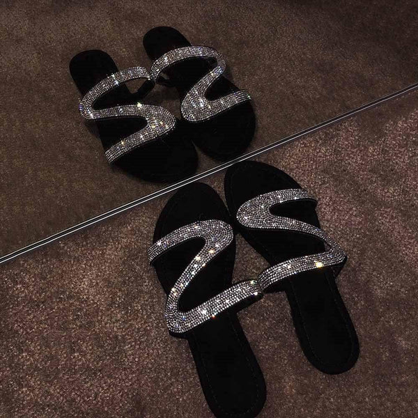 Flip Flop Slip-On Flat With Rhinestone PVC Plain Slippers