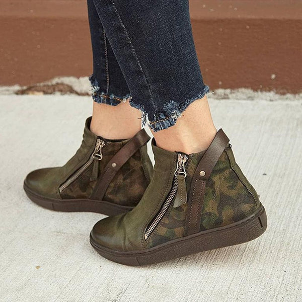 Camouflage Side Zipper Round Toe Zipper Boots
