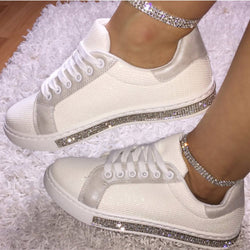 Round Toe Lace-Up Rhinestone Low-Cut Upper Flat With PU Sneakers