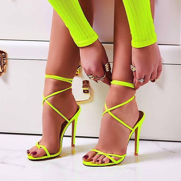 Open Toe Lace-Up Stiletto Heel Strappy Casual Cross Strap Sandals