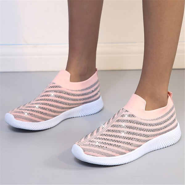 Elastic Band Rhinestone Round Toe Low-Cut Upper Flat With Mesh Sneakers