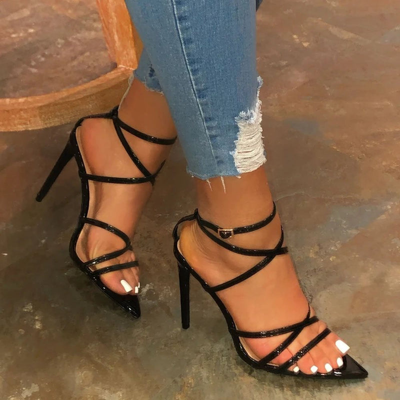 Stiletto Heel Strappy Buckle Open Toe Plain Sandals