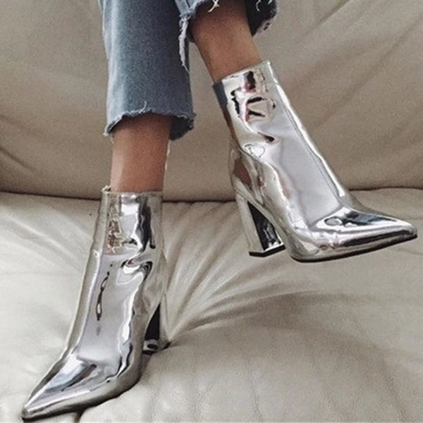 Pointed Toe Side Zipper Chunky Heel Plain Serpentine Boots
