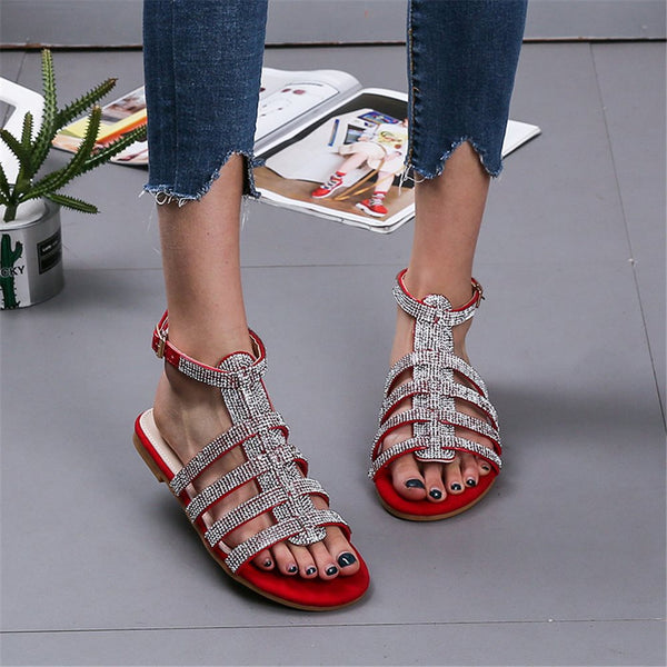 Strappy Buckle Flat With Open Toe Rhinestone Sandals