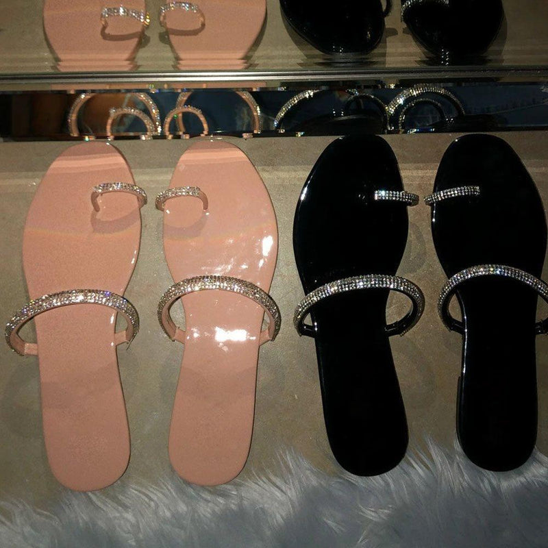 Rhinestone Flat With Slip-On Toe Ring Fall Casual Slippers