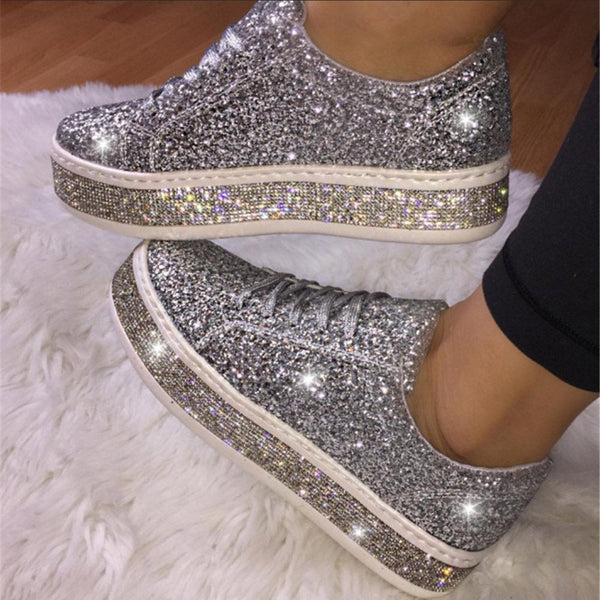 Low-Cut Upper Rhinestone Round Toe Lace-Up Flat With Sneakers