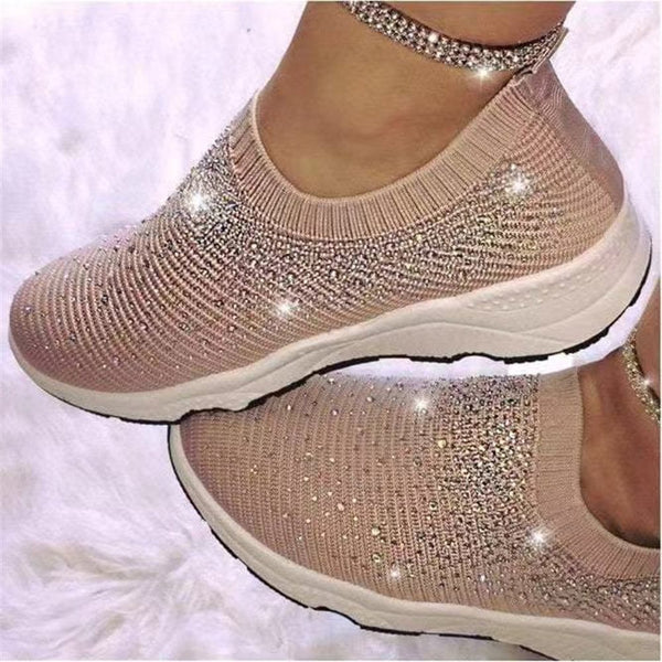 Low-Cut Upper Rhinestone Round Toe Elastic Band Mesh Sneakers