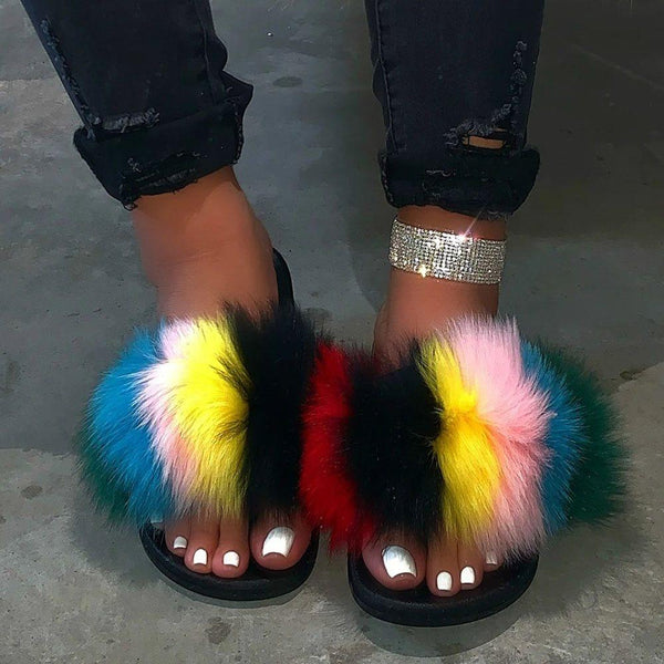 Flip Flop Flat With Feather Slip-On Color Block PVC Slippers
