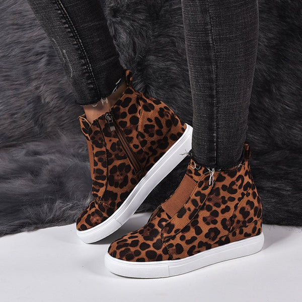 Mid-Cut Upper Round Toe Serpentine Zipper Casual Leopard Sneakers