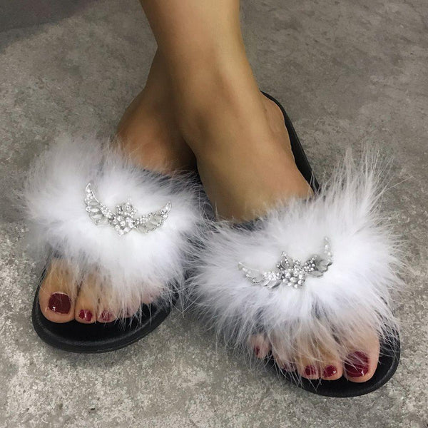 Flip Flop Slip-On Feather Flat With PVC Slippers
