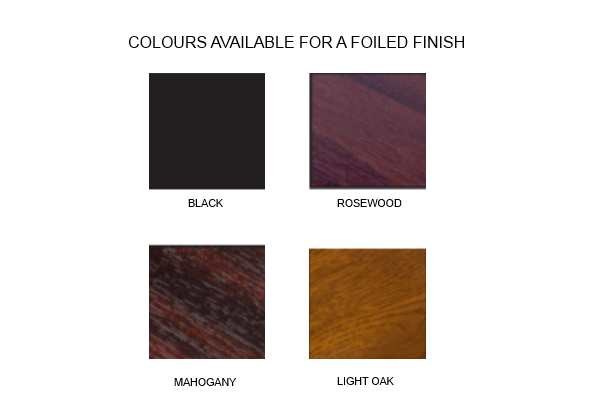 Foiled finishes available for this product
