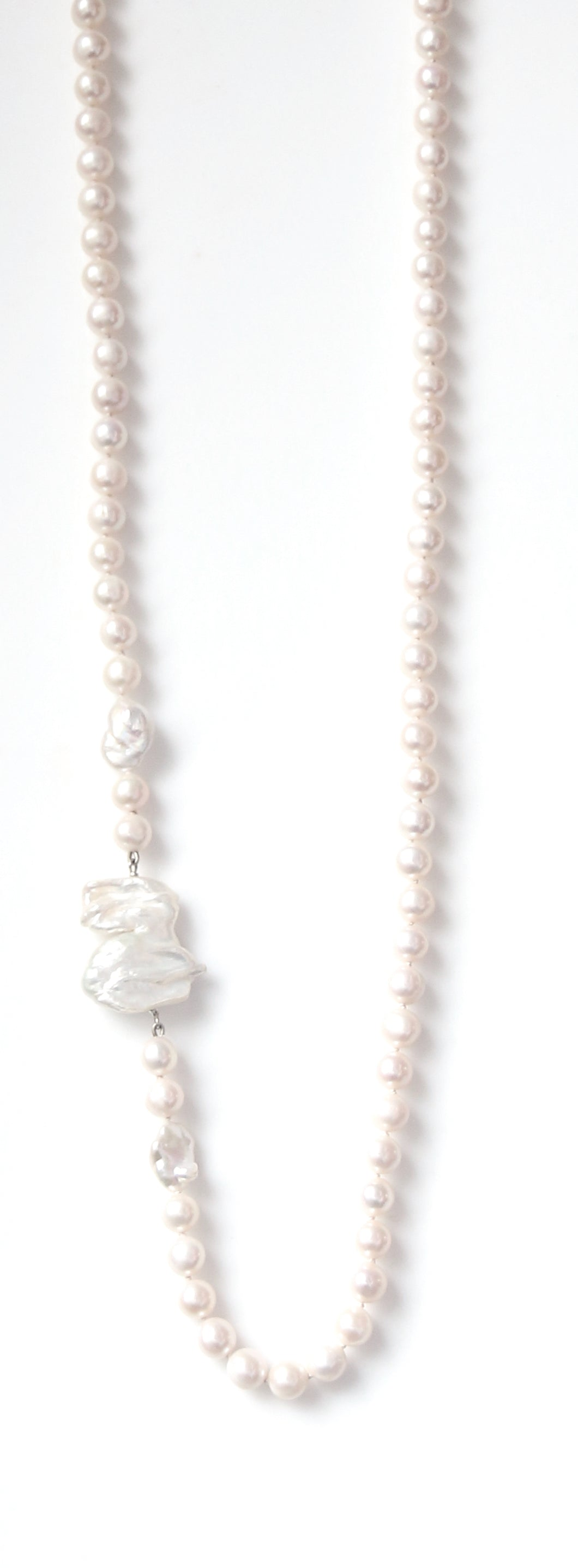 Australian Handmade White Necklace with Pearls and Baroque Pearls