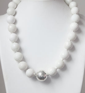 Australian Handmade White Necklace with Facetted White Agate and Sterling Silver Centrepiece