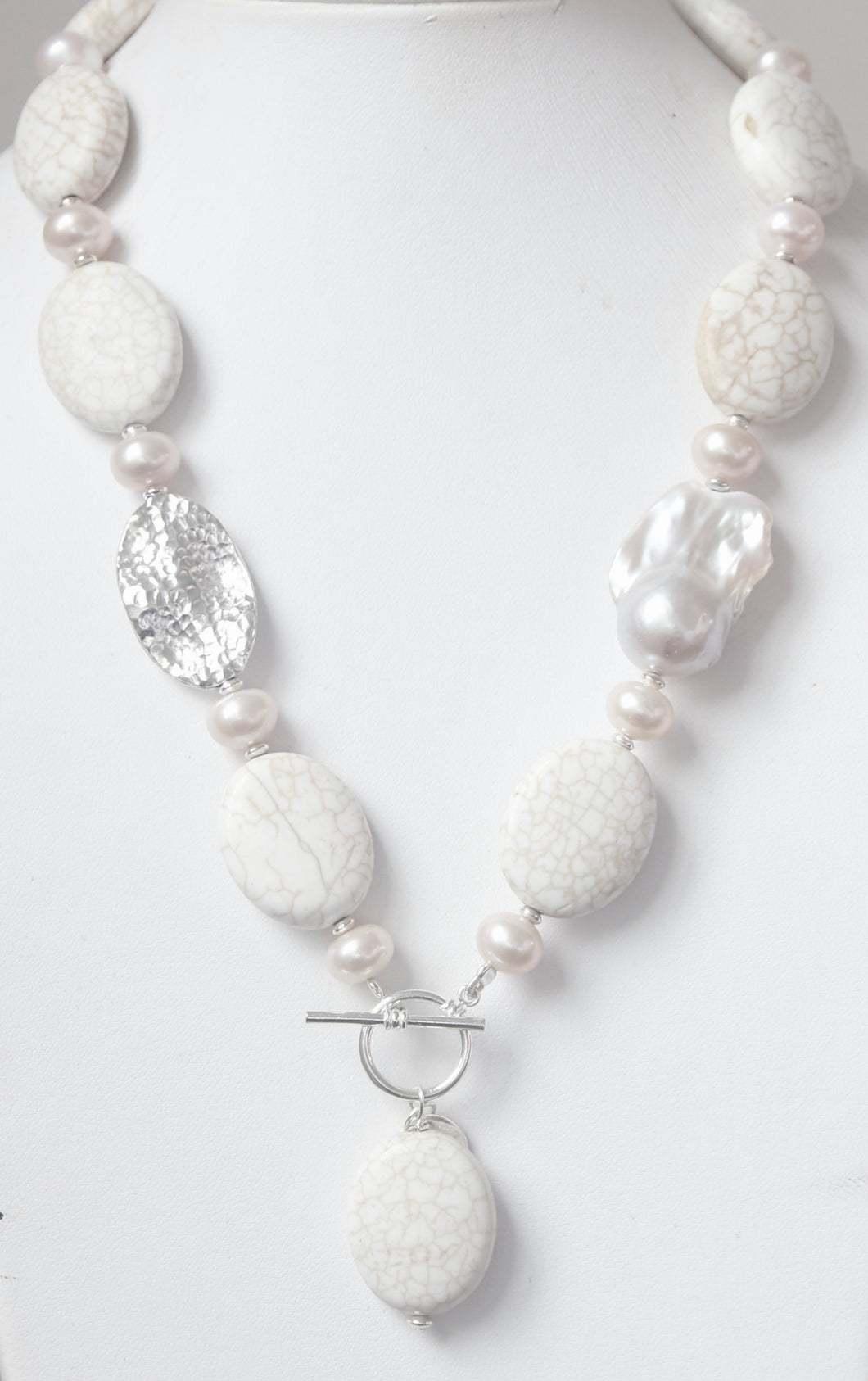 Australian Handmade White Toggle Necklace with Howlite Baroque Pearl Pearls and Sterling Silver