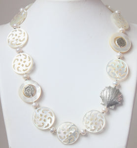Australian Handmade White Pearl Necklace with Carved Mother of Pearl and Sterling Silver