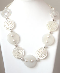 Australian Handmade White Necklace with White Agate Carved Mother of Pearl Pearls and Sterling Silver