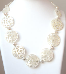 Australian Handmade White Necklace with Carved Mother of Pearl Pearls and Sterling Silver