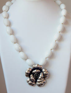 Australian Handmade White Necklace with Facetted White Agate and Sterling Silver Flower Pendant