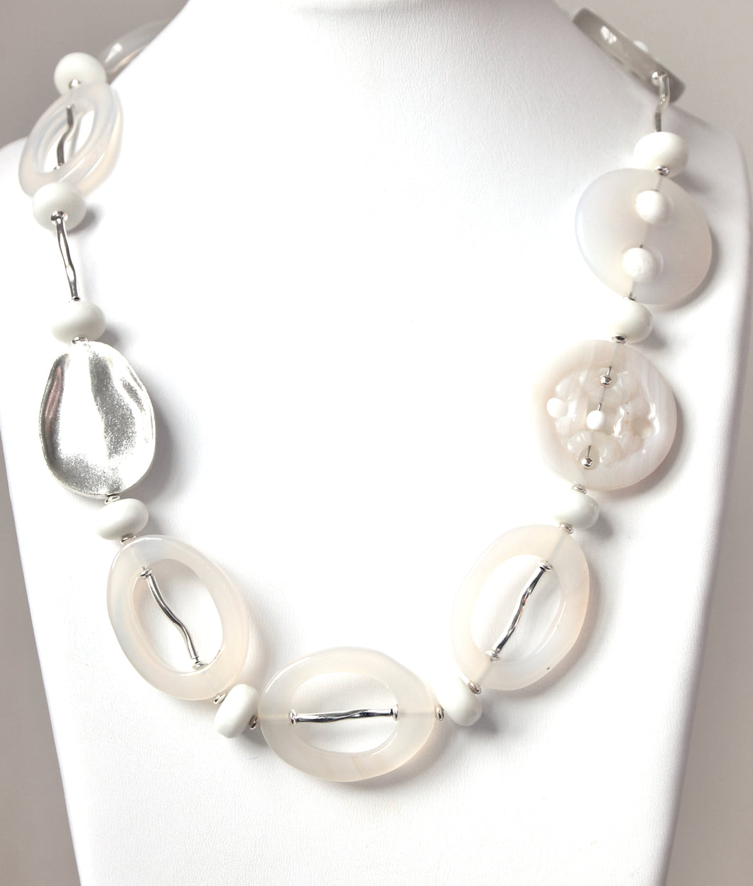 Australian Handmade White Necklace with White Agate White Jade and Sterling Silver