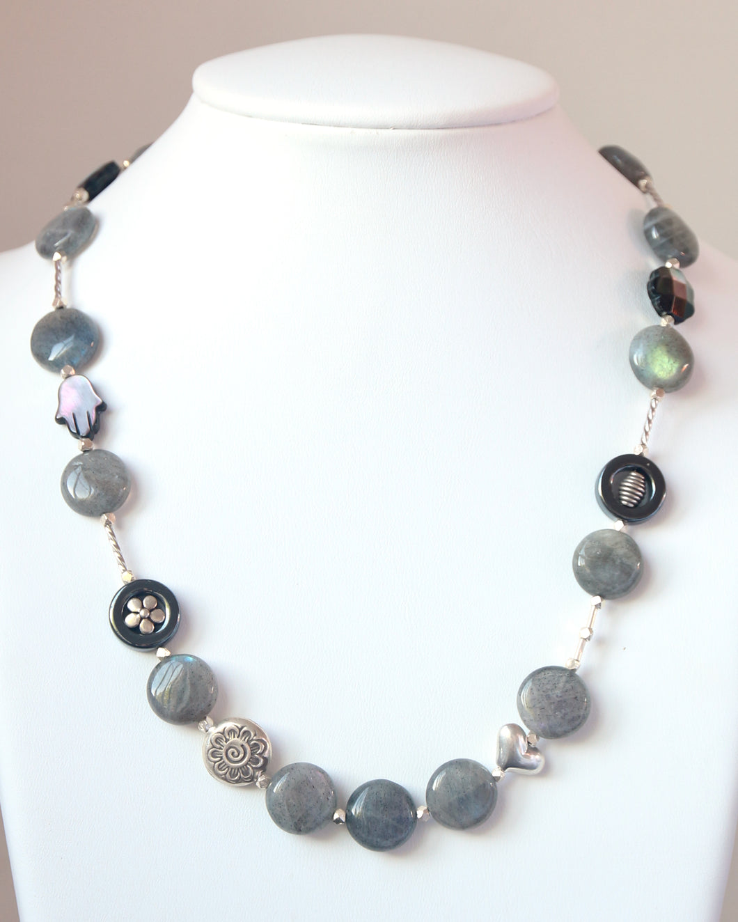 Australian Handmade Grey Necklace with Labradorite Hematite Mother Of Pearl and Sterling Silver