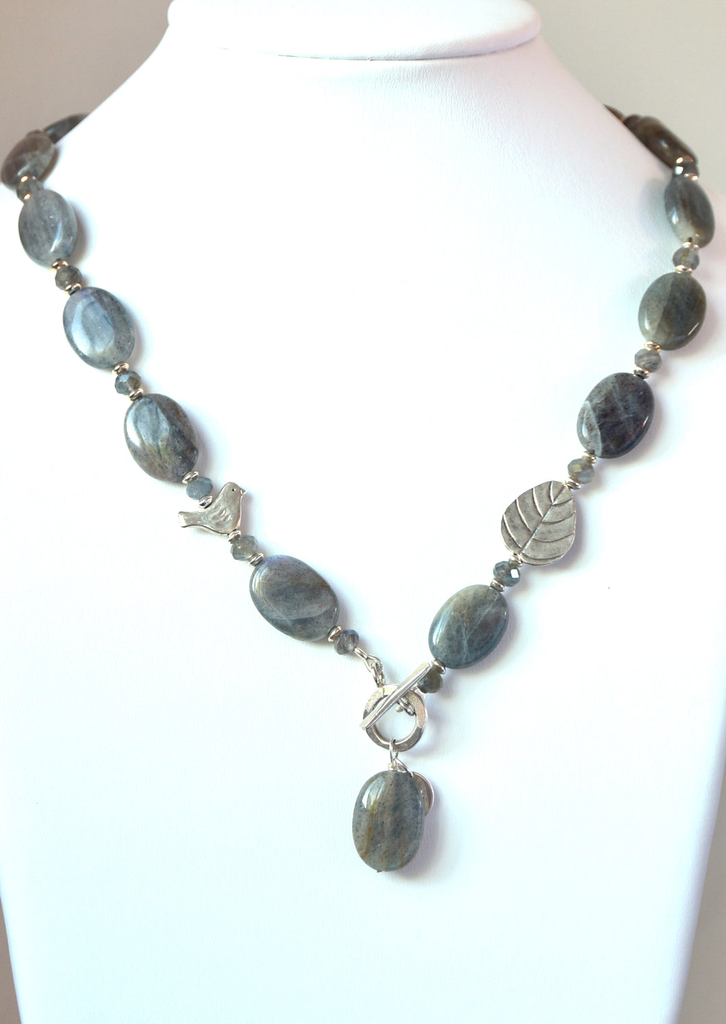 Australian Handmade Grey  Toggle Necklace with Labradorite and Sterling Silver