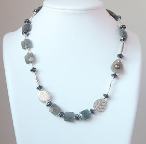 Australian Handmade Grey Necklace with Labradorite Hematite Agate and Sterling Silver