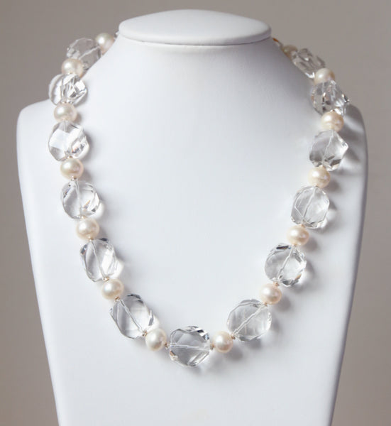 Australian Handmade Crystal Quartz Facetted Necklace with Pearls and Sterling Silver