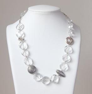 Australian Handmade Crystal Quartz Facetted Necklace and Sterling Silver Features