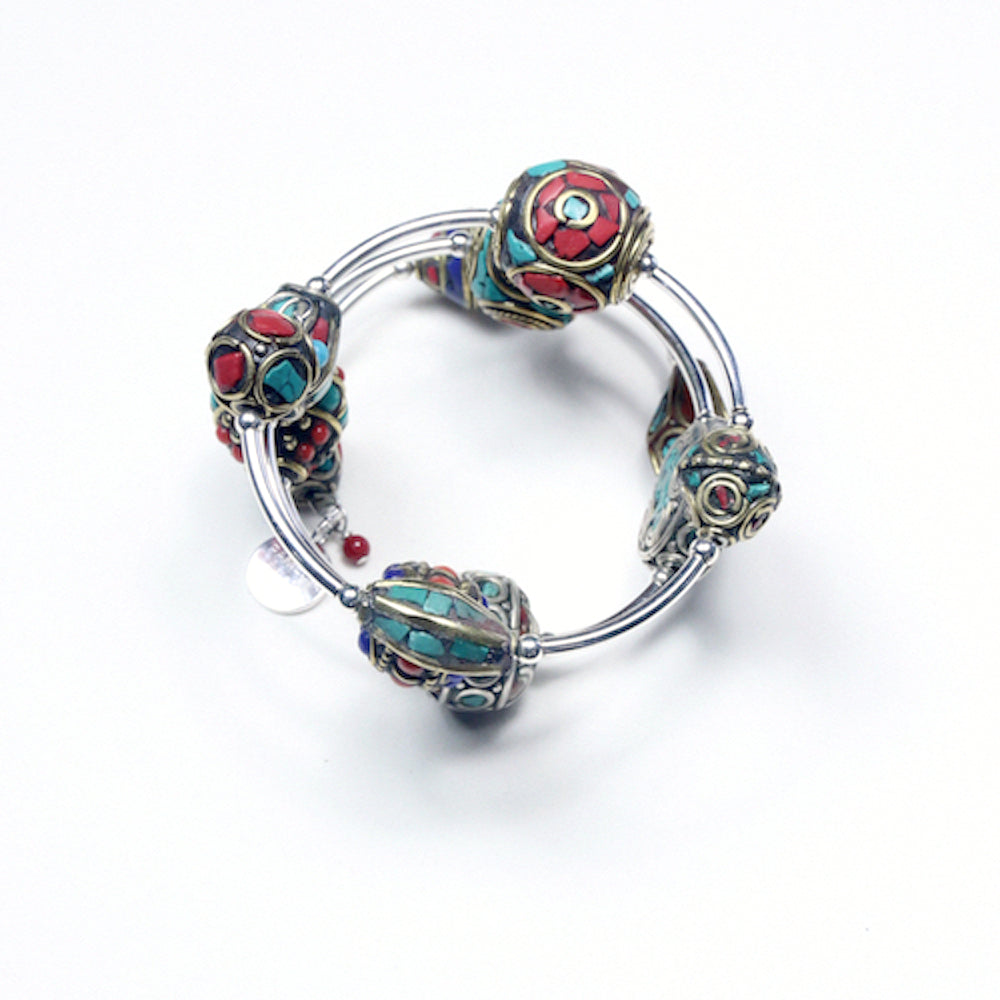 Turquoise Colour Wind On Bracelet with Nepalese Beads and Sterling Silver
