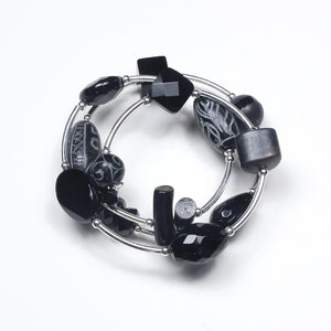 Black Wind On Bracelet with Gemstones and Sterling Silver