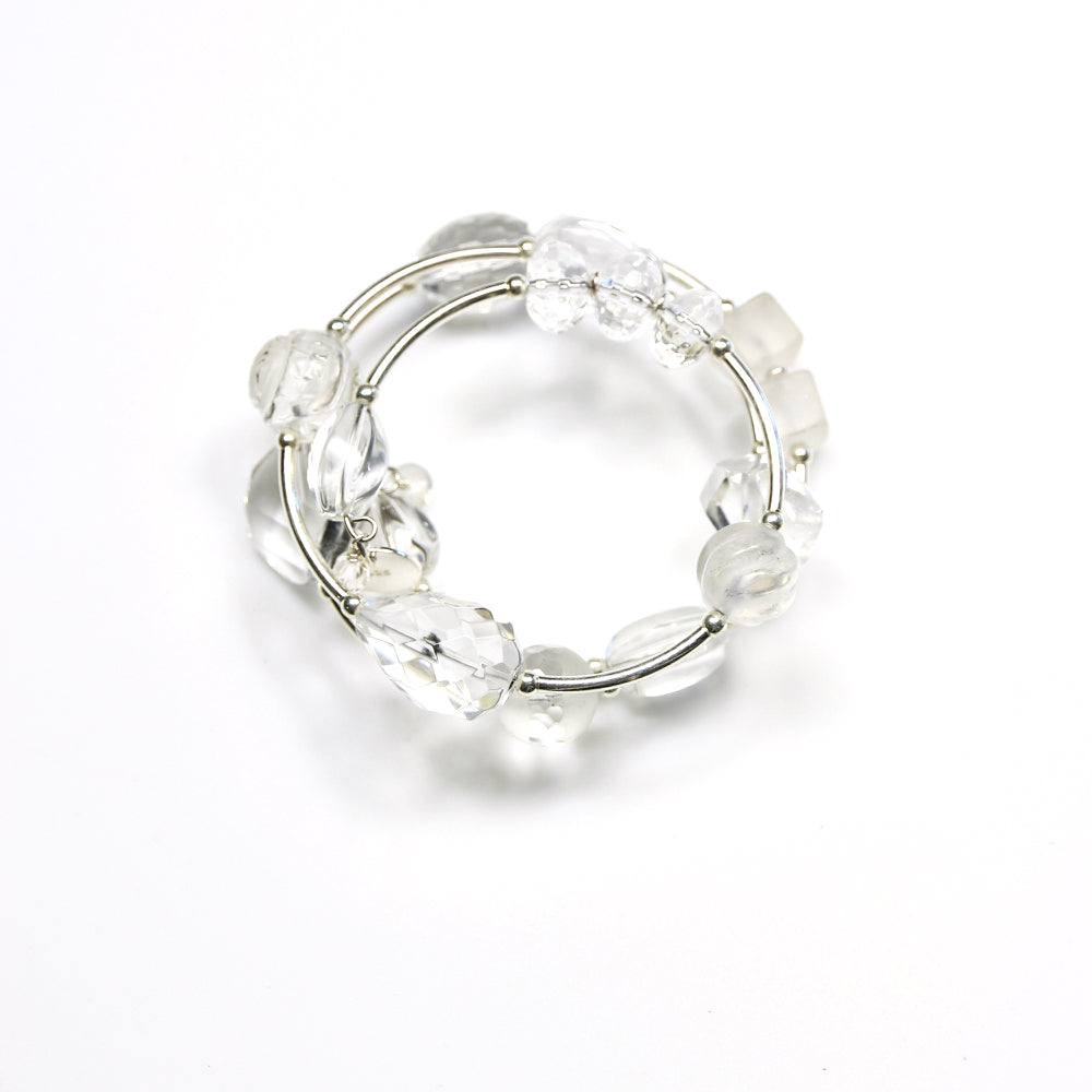 Clear Crystal Quartz Wind On Bracelet with Sterling Silver