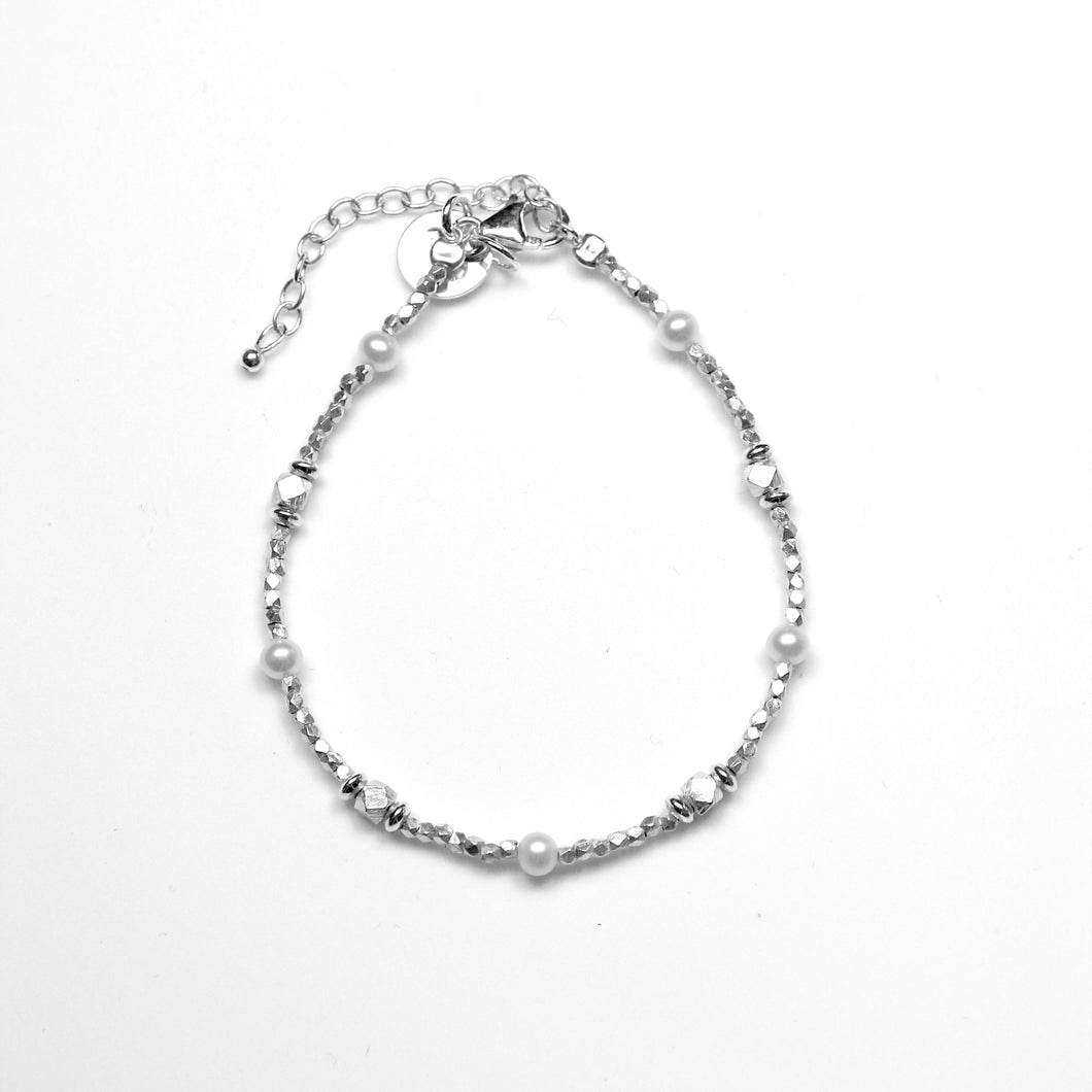 White Pearl Bracelet with Sterling Silver