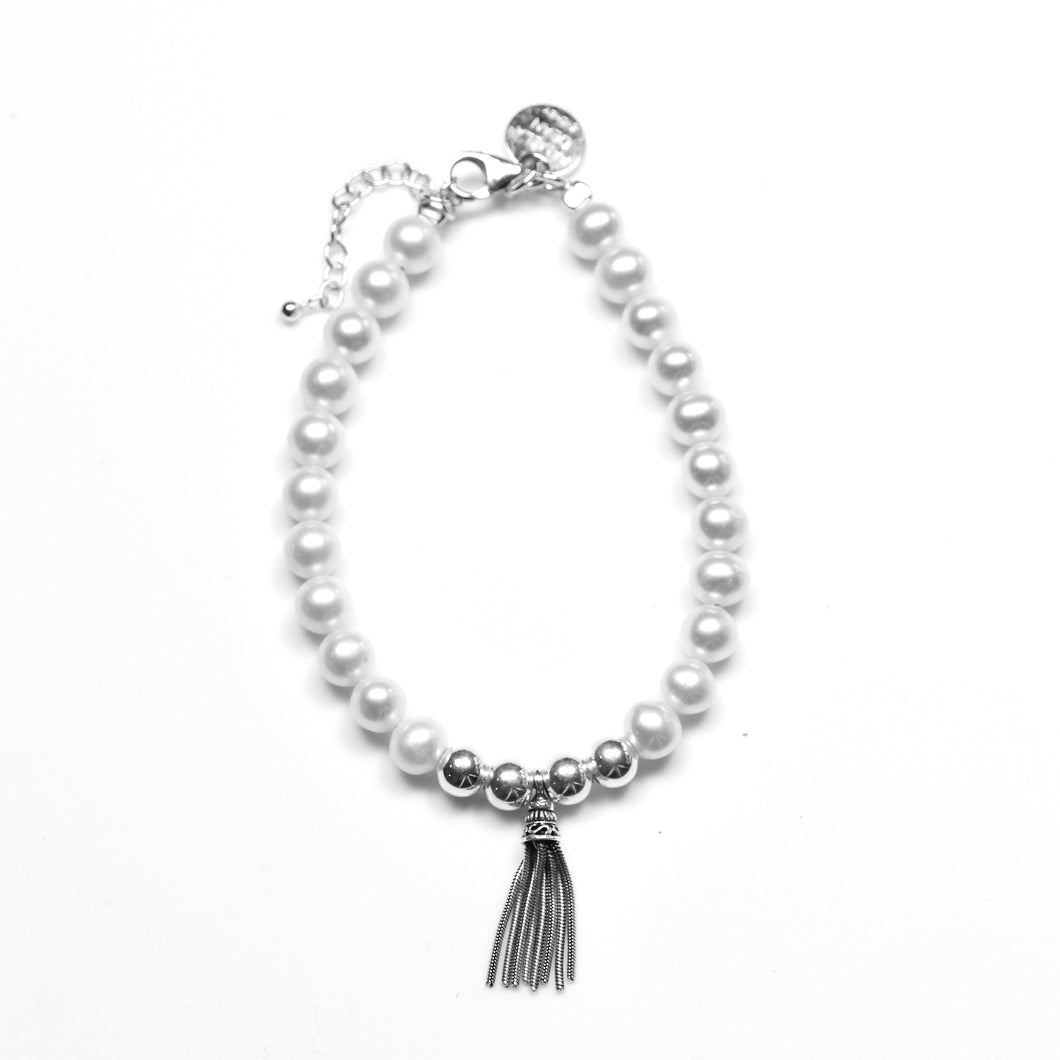 White Pearl Bracelet with Sterling Silver Large Tassel and Beads