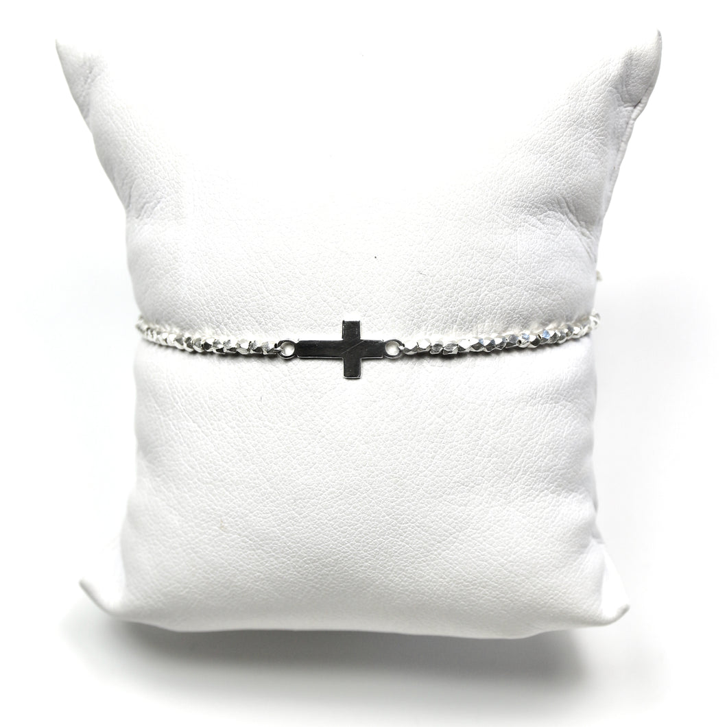 Sterling Silver Bracelet with Sterling Silver Cross