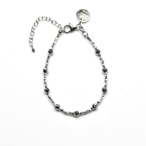 Sterling Silver Bracelet with Sterling Silver Assorted Shape Beads