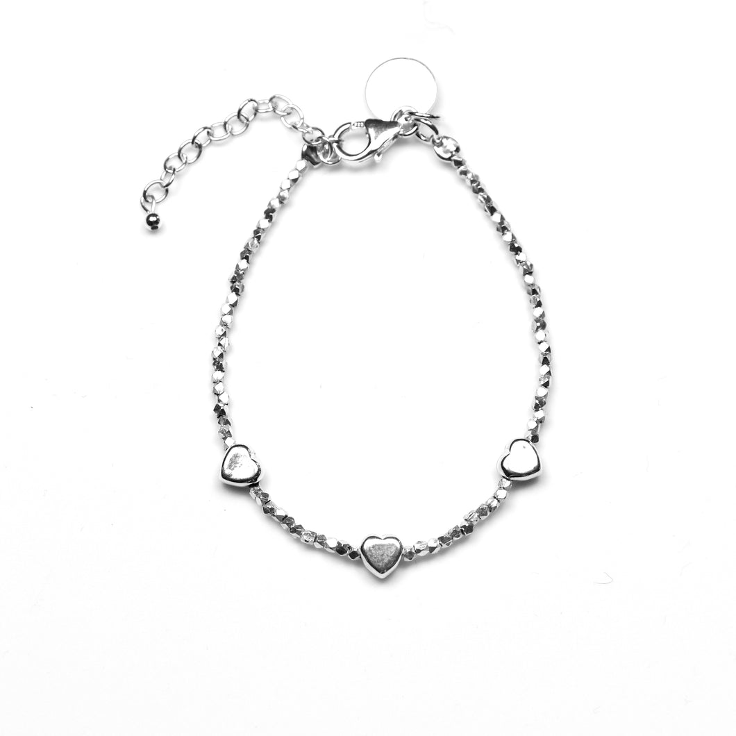 Sterling Silver Bracelet with Sterling Silver Beads and Hearts