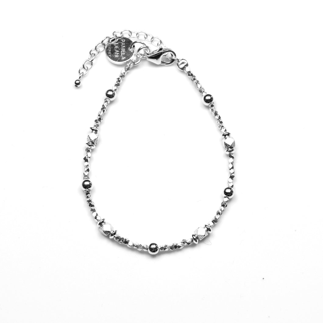 Sterling Silver Bracelet with Assorted Small Sterling Silver Beads