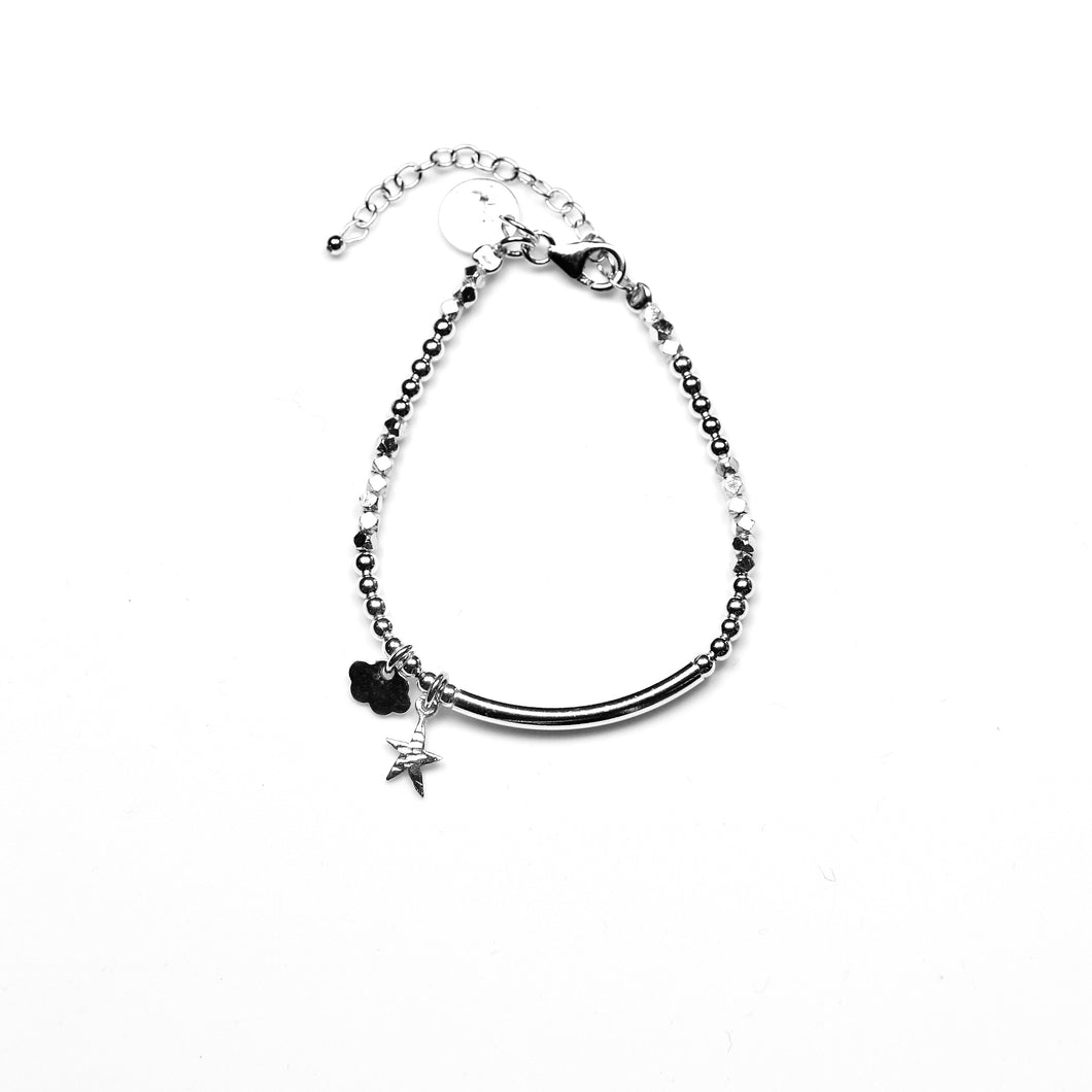Sterling Silver Bracelet with Sterling Silver Beads and Charms