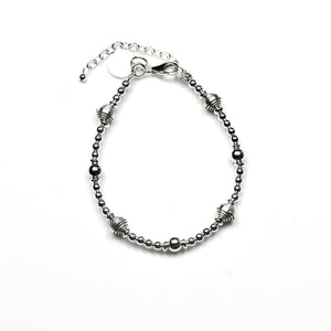 Sterling Silver Bracelet with Sterling Silver Assorted Beads