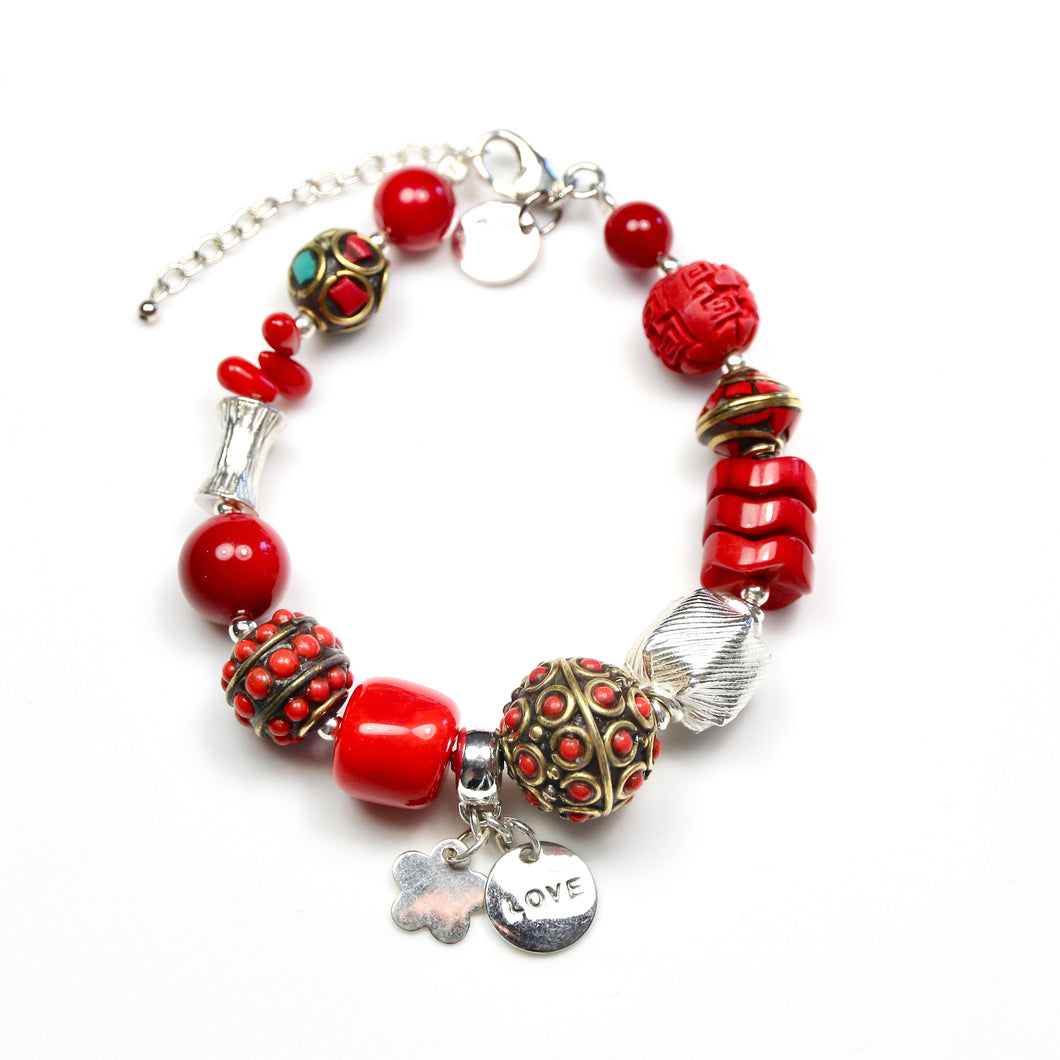 Red Coral Bracelet with Sterling Silver and Nepalese Beads